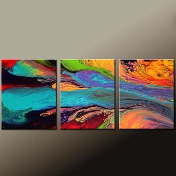 3pc Abstract Art Prints Set Contemporary Wall Art by Destiny Womack - dWo - Soul Searching