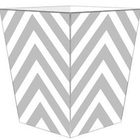 Grey Chevron Grande Personalized Wastepaper Basket