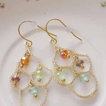 Gold Chandelier Earrings- Multi color Crystals -Dangle, Elegant, Bridal Jewelry