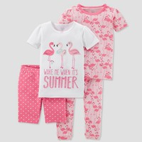 Baby Girls' 4pc Summer Flamingo Pajama Set - Just One You® made by carter's Pink 12M