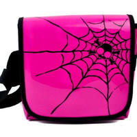 Pink PVC with Black Spider Web Messenger Sling Bag