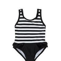 Kate Spade Babies' Stripe Ruffle One-Piece Black