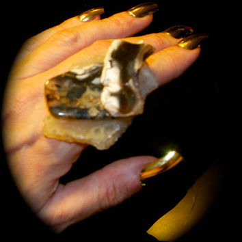 double thunderegg sliced druzy on white skin crackle agate statement ring Agate Slice, Cocktail Ring, Adjustable Ring, Gemstone Ring