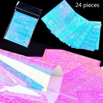 24 Sheets 3D Symphony Laser Adhesive Shell Glass dual - use Korean Candy Colors Hollow Nail Art Carved Guide Stencil Stickers