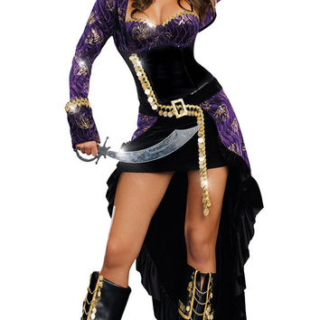 Long Sleeve Asymmetrical Pirate Costume Set