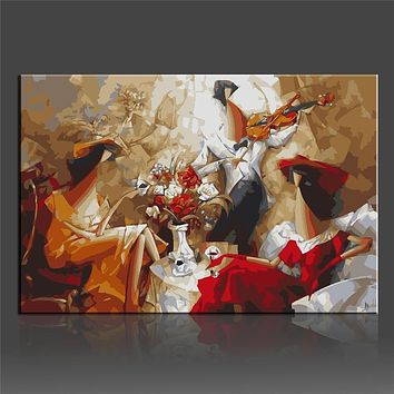 Wall Pictures DIY Digital Oil Painting By Numbers On Canvas 40x50cm Music Story Coloring By Numbers Canvas Art Quadros Frameless