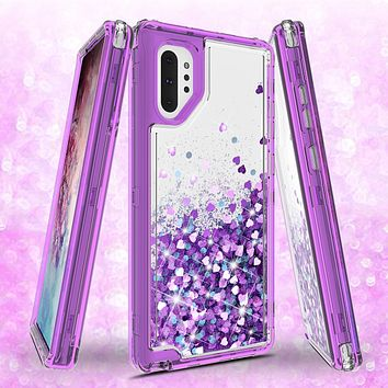 Samsung Galaxy Note 10 Plus Case,Hard Clear Glitter Sparkle Flowing Liquid Heavy Duty Shockproof Three Layer Protective Bling Girls Women Cases for Samsung Galaxy Note 10 Plus - Purple
