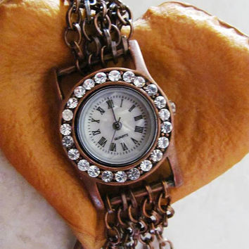 Antique Style Crystal Bracelet Watch  FREE SHIPPING