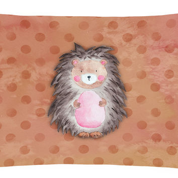 Polkadot Hedgehog Watercolor Canvas Fabric Decorative Pillow BB7378PW1216
