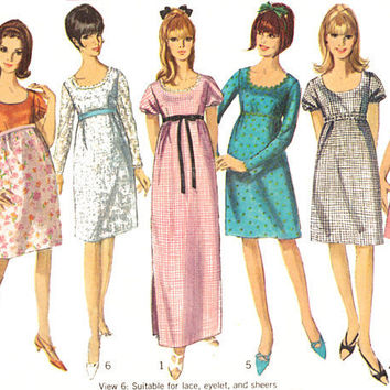 Vintage Sewing Pattern 60s Knee Maxi Dress Empire Waist Uncut bust 34