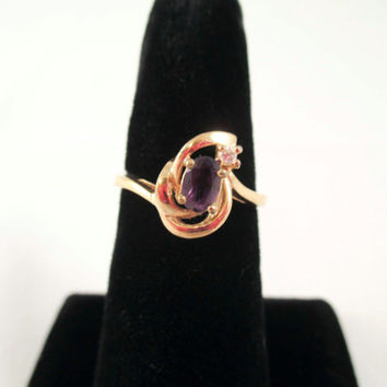 Gold Ring Amethyst and Diamond Size 8