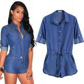 New hot Women's V-neck Jeans Jumpsuit Romper Good Quality