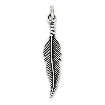 Sterling Silver Antiqued Feather Pendant