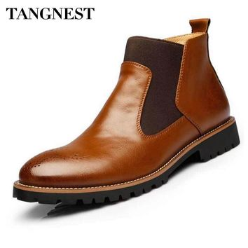 Tangnest Men's British Style Leather Chelsea Boots