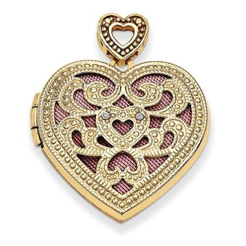14k Gold 24mm Heart w/Diamond Vintage Locket