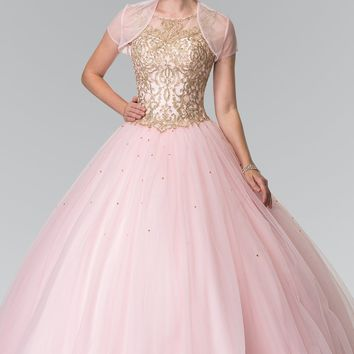 Pink quinceanera dress with puffy ruffle skirt gls 2207