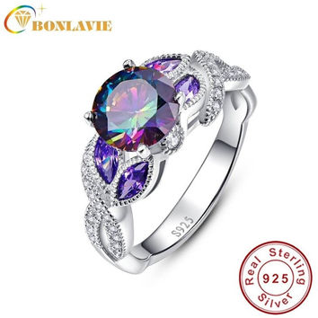 925 STERLING SILVER MYSTICAL RAINBOW TOPAZ RINGS WITH SAPPHIRE ACCENT STONE FASHION DESIGN ENGAGEMENT WEDDING BAND RING