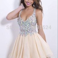2014 New Fashion Homecoming Dresses Sexy Deep V Neck Mini Chiffon Short Crystal Bodice Short Prom Dress Party Cocktail Dresses