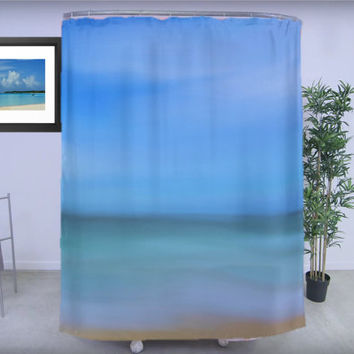 "Shower Curtain - 'Abstract Seascape' - 71"" by 74"" Home, Bathroom, Bath, Dorm, Decor, Girl, Christmas, Ocean, Exotic, Nature, Abstract"