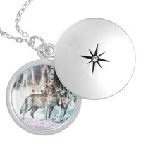 Wolves in Winter Sterling Silver Locket Necklace
