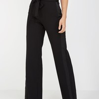 Paperbag Waist Trousers With Satin Stripe - Black