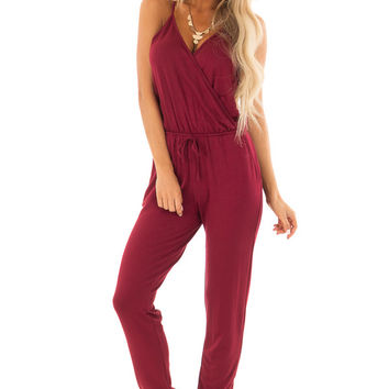 Burgundy Spaghetti Strap Crossover Front Jumpsuit