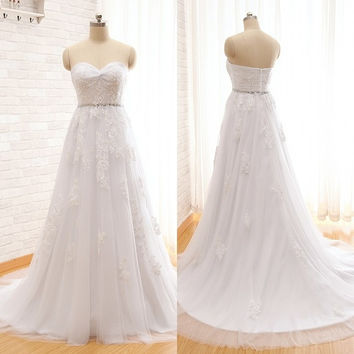 Real Simple Sweetheart Lace And Beading A-line Wedding Dress