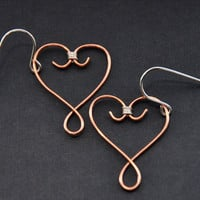 CIJ Wire Heart Earrings, Sterling Silver Copper Earring, Rustic Celtic Jewelry, Hearts Jewellery, Handmade Metalwork