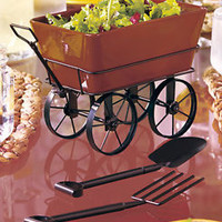 Fresh From The Garden Wagon Shaped Serving Salad Bowl & Utensils Kitchen Parties