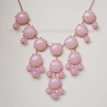 Pink Bubble Necklace, Bib Statement Necklace,bridesmaid gift