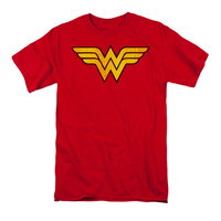 DC Comics Men's  Wonder Woman Logo Dist T-shirt Red Rockabilia