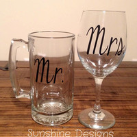 Mr. & Mrs. Glasses, Mrs Wine Glass, Mr Beer Mug, Wedding Gift, Engagement Gift