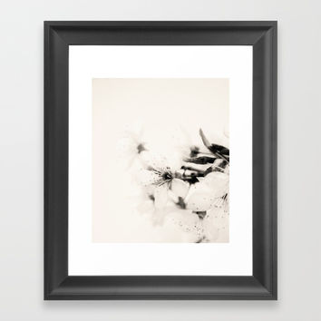 Monochrome Blossoms Close-up Framed Art Print by ARTbyJWP