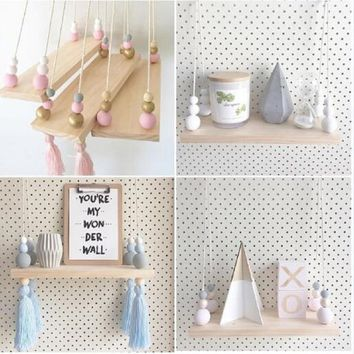 Nordic Style Macaron Color Wooden Beads Tassel Pendant Commodity Shelf Wall Hanging for Photography Kids Room Decor