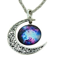 Moonar® Jewelry Choker Necklace Glass Galaxy Lovely Pendant Silver Chain Moon Necklace