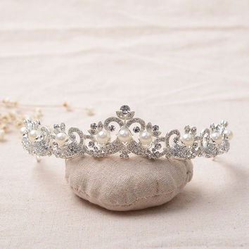 Accessory Korean Rhinestone Pearls Alloy Crown Headwear Wedding Dress Prom Dress [6258302598]
