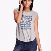 Old Navy Womens Cap Sleeve Graphic Tee