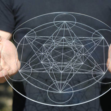 Metatron's Cube Laser Cut Crystal Grid Artwork