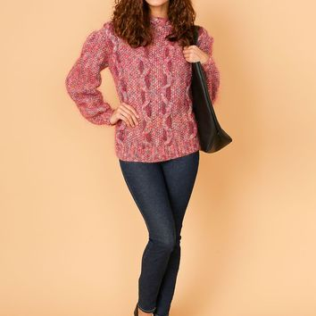 csv10969 - Vintage Embellished Cable Knit Mohair Sweater