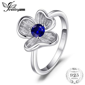 JewelryPalace Flower 0.34ct Created Blue Sapphire Anniversary Birthday Ring For Women Solid 925 Sterling Silver Fine Jewelry