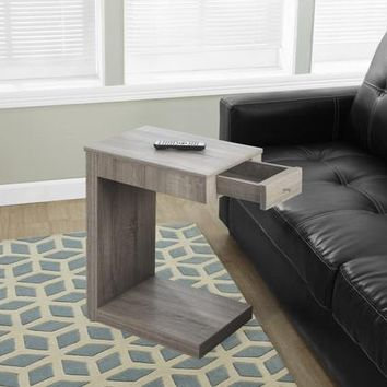 Dark Taupe Accent Table With A Drawer