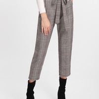 Glen Plaid Frill Waist Self Tie Capri Pants -SheIn(Sheinside)