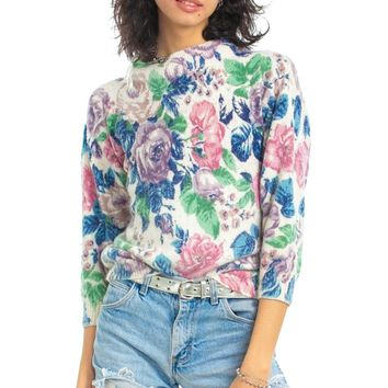 Vintage 80's Silk-Blend Floral Sweater - XS/S/M