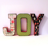 JOY Christmas Decor Letters Custom Names Words