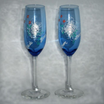Hand Painted Champagne Wedding Flutes by PaintedDesignsByLona