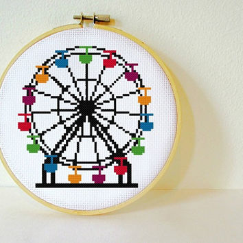 Counted Cross stitch Pattern PDF. Instant download. Ferris Wheel. Includes easy beginners instructions.