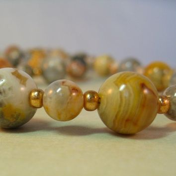 Lace Agate and Metallic Gold Czech 6/0 Glass Seed Bead Necklace 18.5""