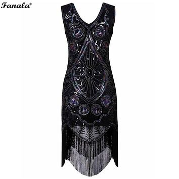 Vintage Women Style Sequin Embellished Fringed Evening Party Club Pencil Dress
