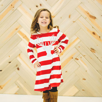 Girls Reindeer Tunic Dress- Red Striped