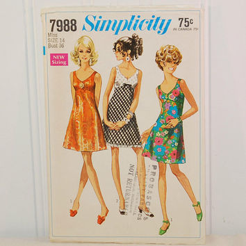 Vintage Simplicity 7988 Bra Dress, Sun Dress (c. 1968) Misses' and Junior Size 14, Bust Size 36 Inches, Summer Dress, Party Dress, Retro